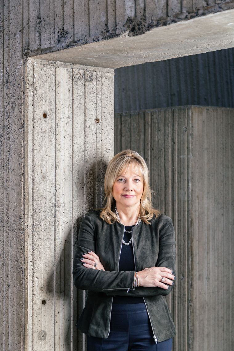 Detroit Editorial Portrait Photographer, Mary Barra, CEO of General Motors, photographed at General Motors World Headquarters in Detroit, Michigan.
